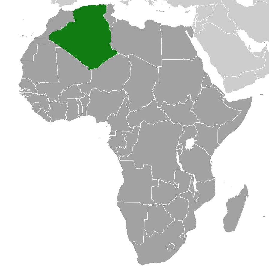 Localización geográfica de Argelia