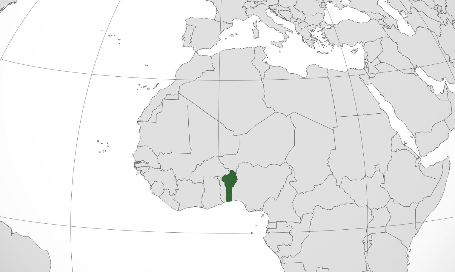 Localización geográfica de Benín