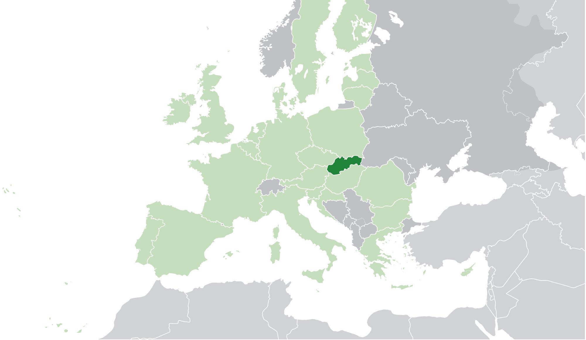 Localización geográfica de Eslovaquia