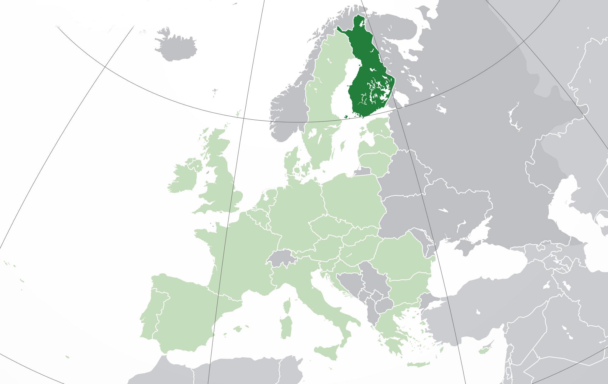 Localización geográfica de Finlandia