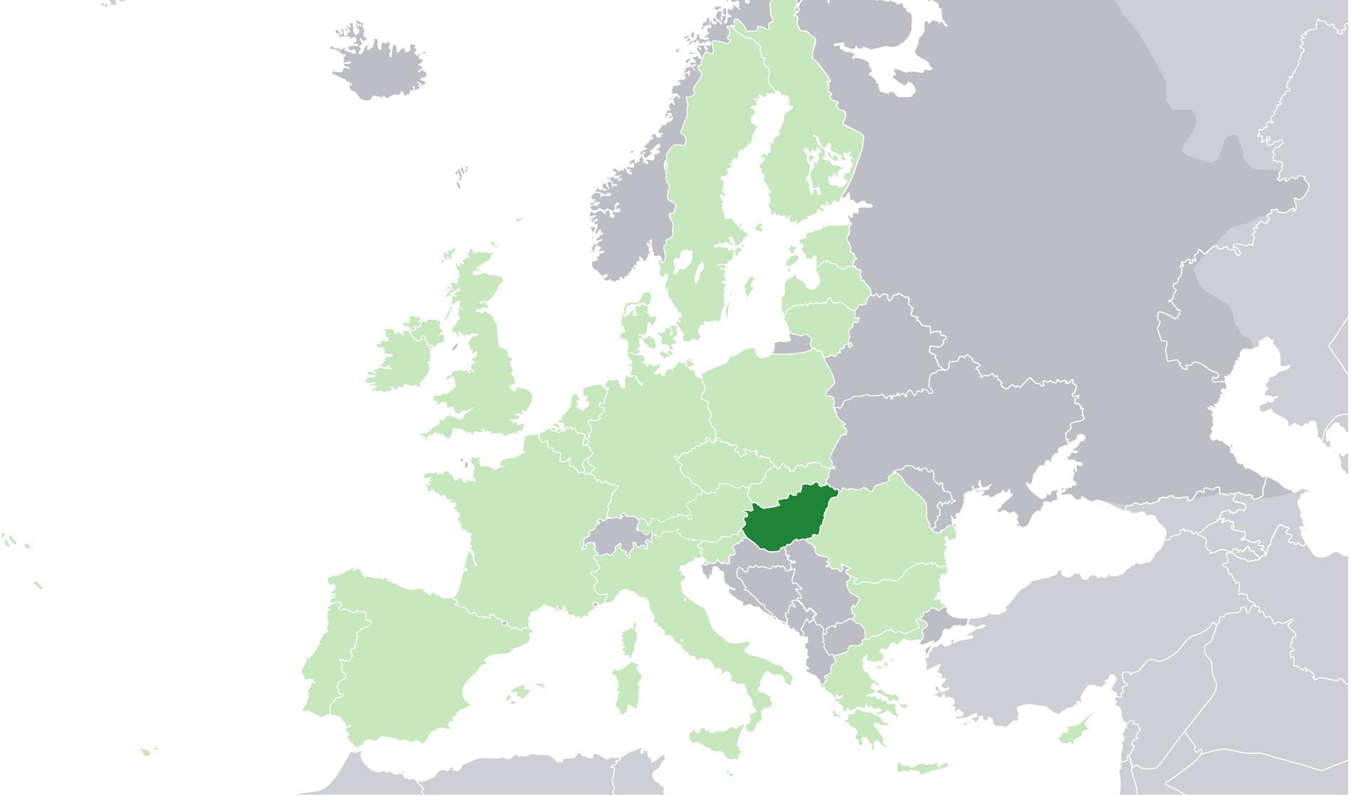 Localización geográfica de Hungría