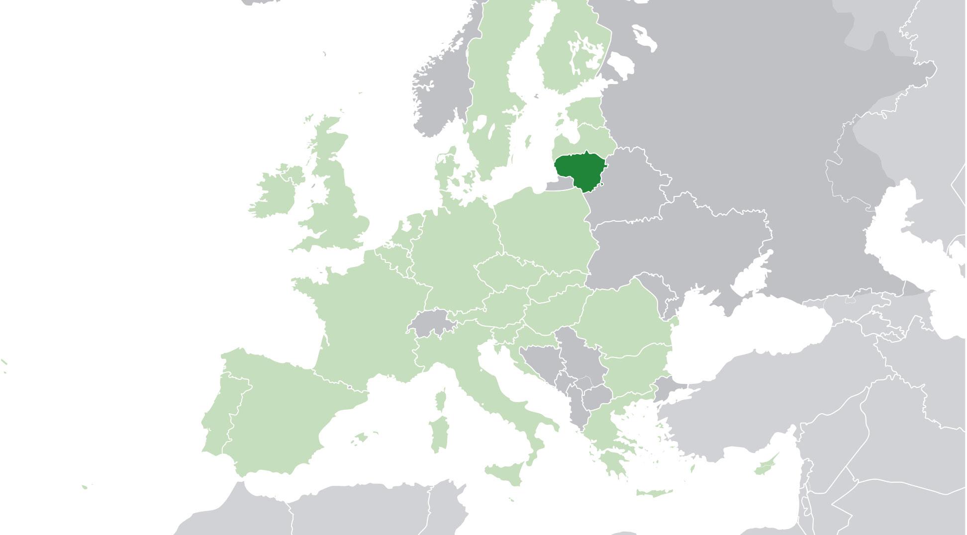 Localización geográfica de Lituania