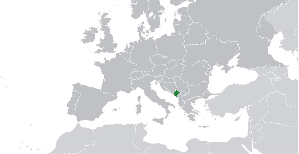 Localización geográfica de Montenegro