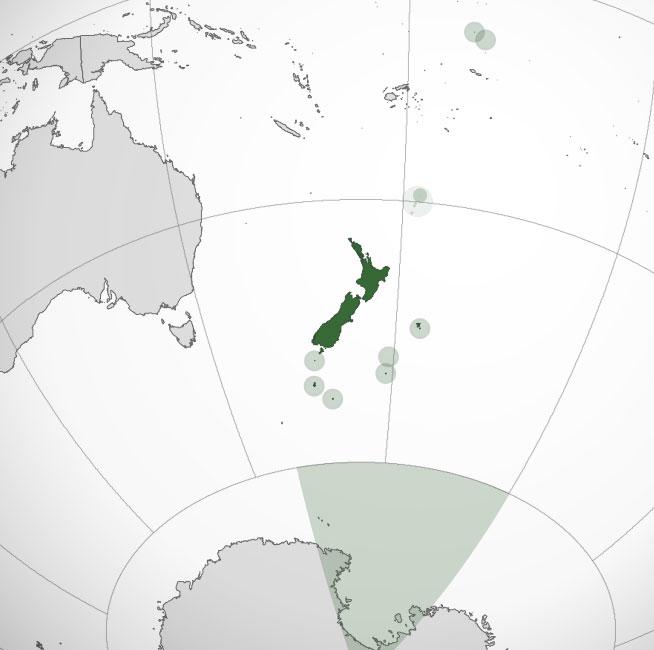 Localización geográfica de Nueva Zelanda