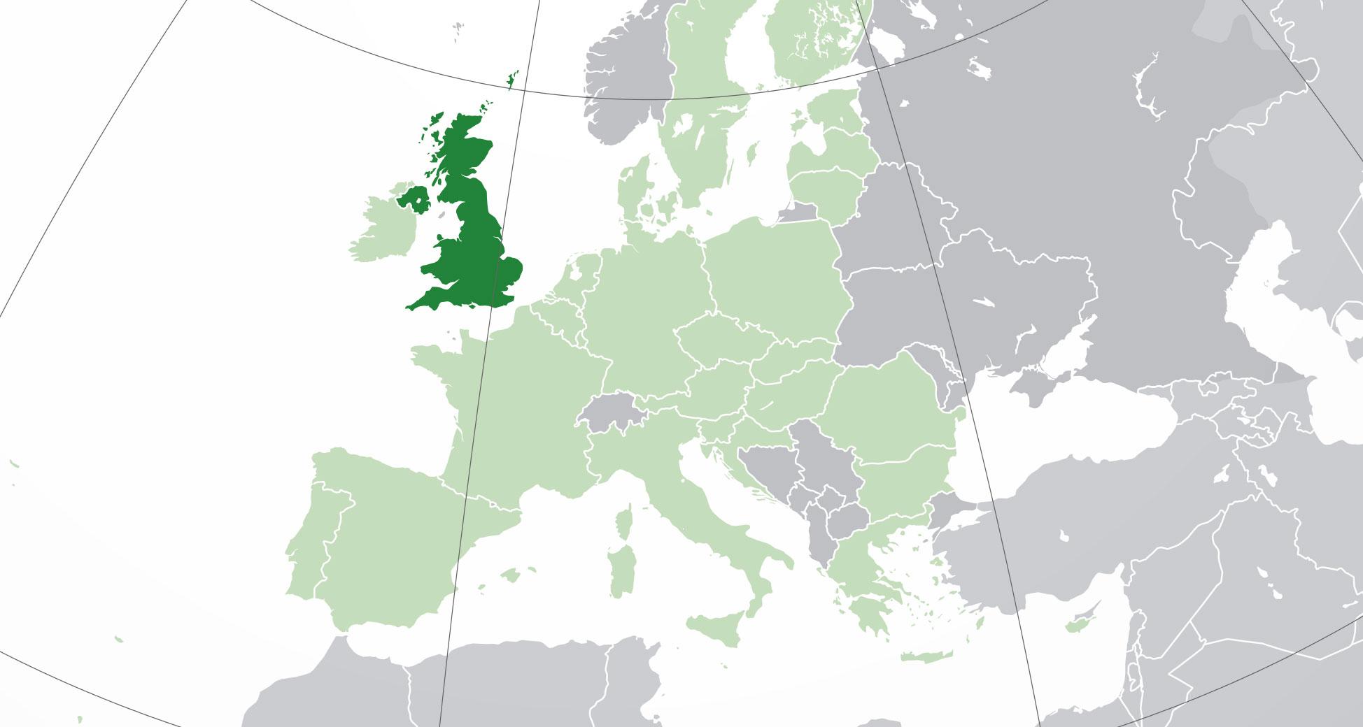 Localización geográfica de Reino Unido