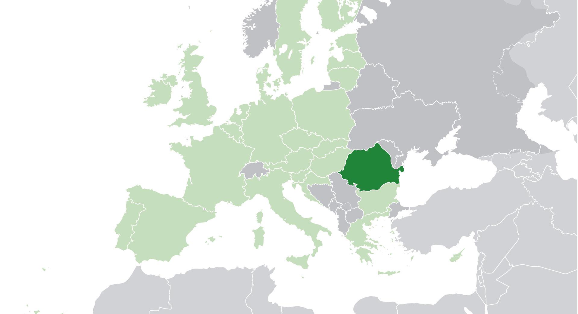 Localización geográfica de Rumanía