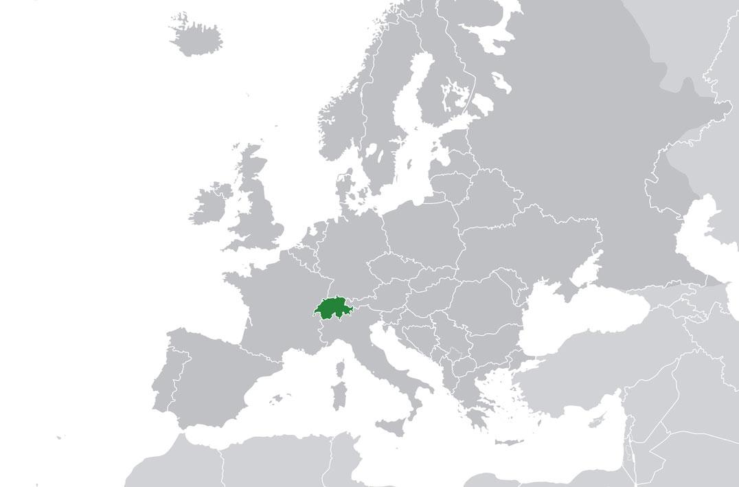 Localización geográfica de Suiza