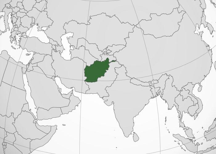 Localización geográfica de Afganistán