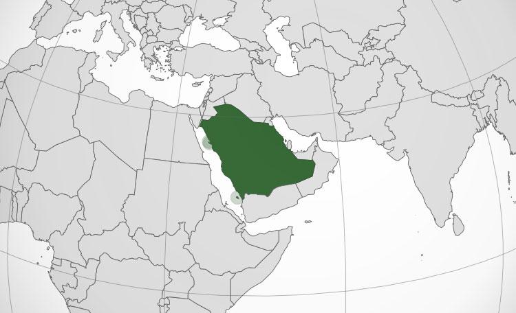 Localización geográfica de Arabia Saudita