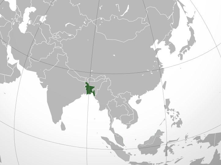 Localización geográfica de Bangladesh (Bangladés)