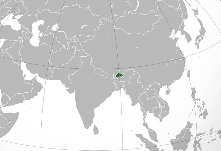 Localización geográfica de Bután
