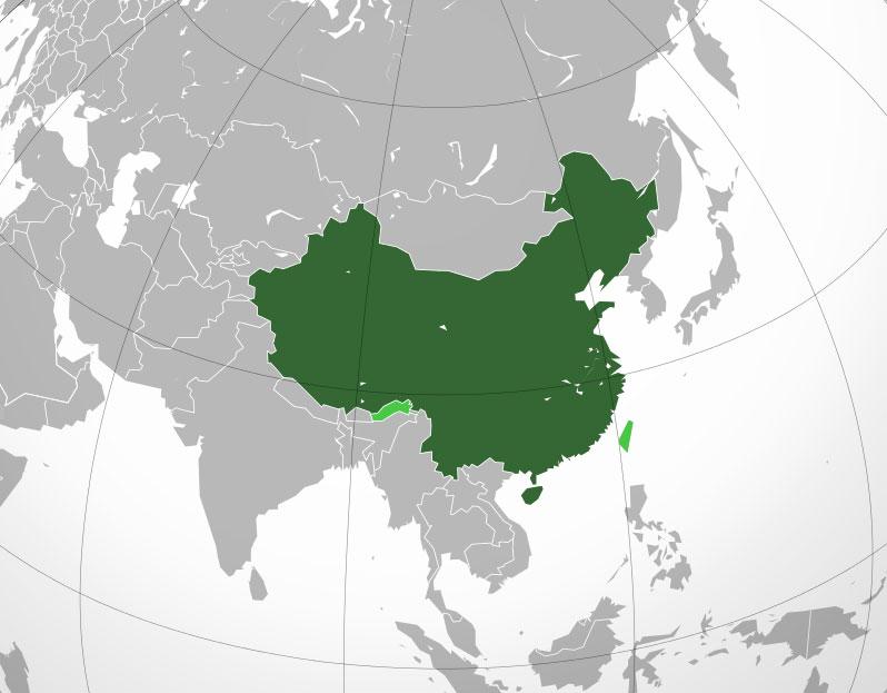Localización geográfica de China