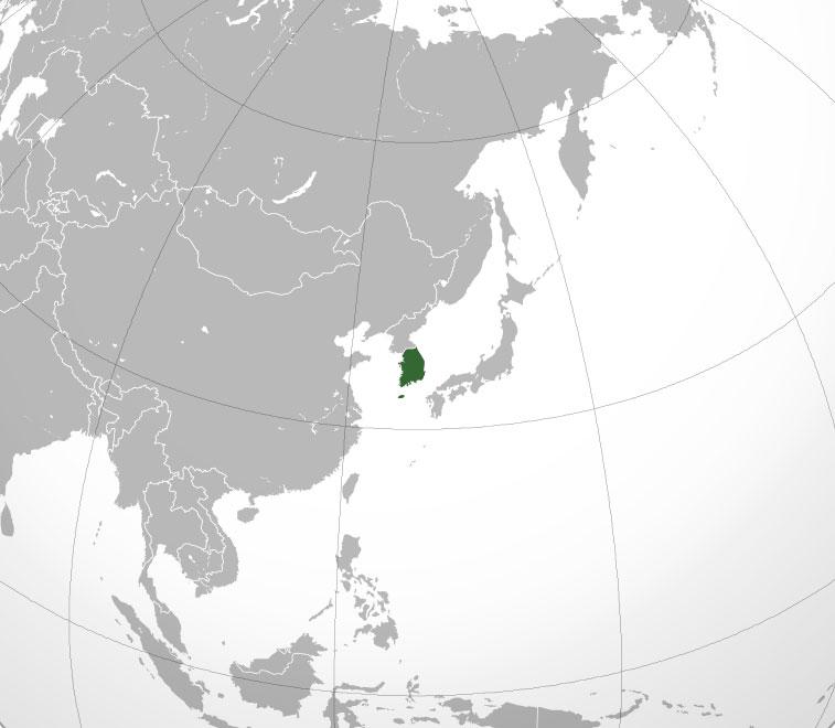 Localización geográfica de Corea del Sur