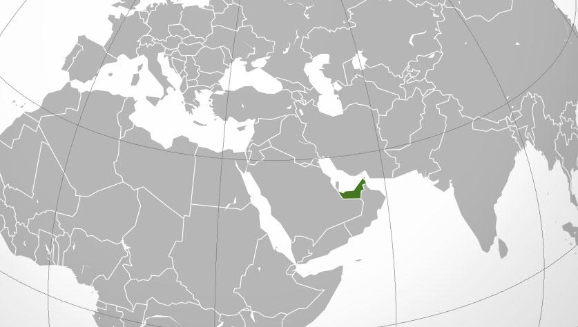 Localización geográfica de Emiratos Árabes Unidos