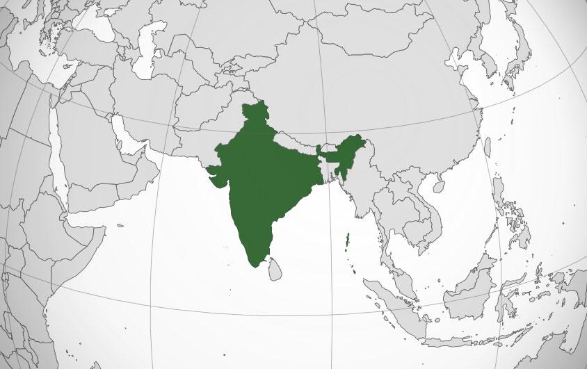 Localización geográfica de India
