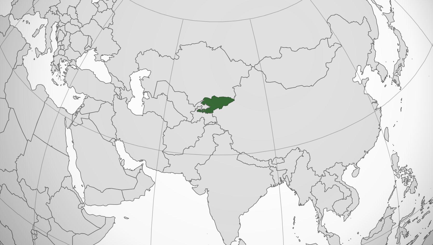 Localización geográfica de Kirguistán