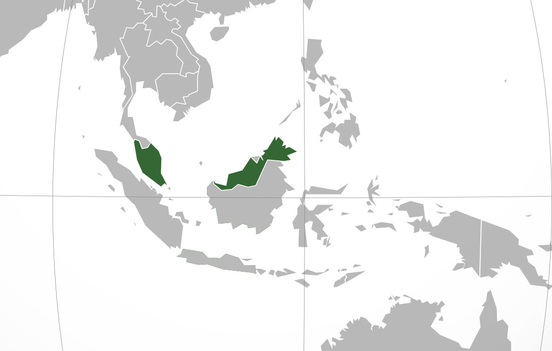 Localización geográfica de Malasia