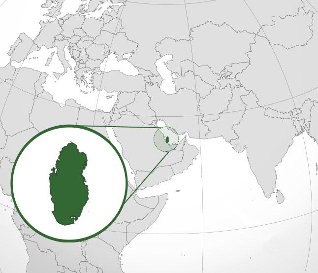 Localización geográfica de Qatar