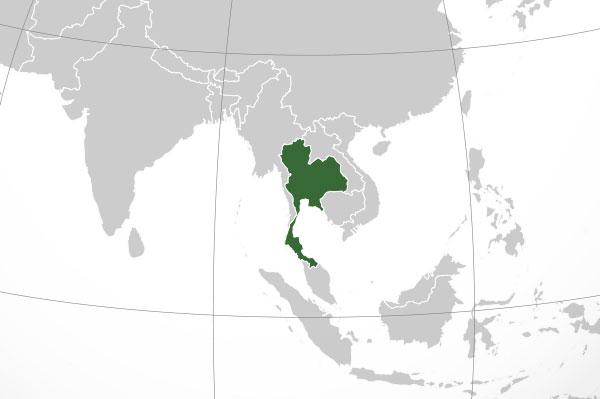 Localización geográfica de Tailandia