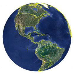 Mapa de Uruguay vista satelital
