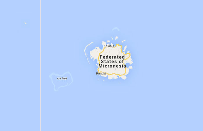 Mapa de Estados Federados de Micronesia