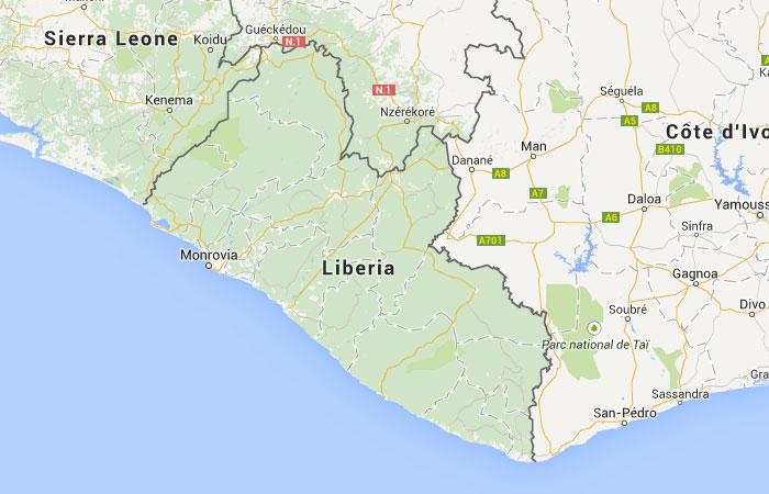 Mapa de Liberia