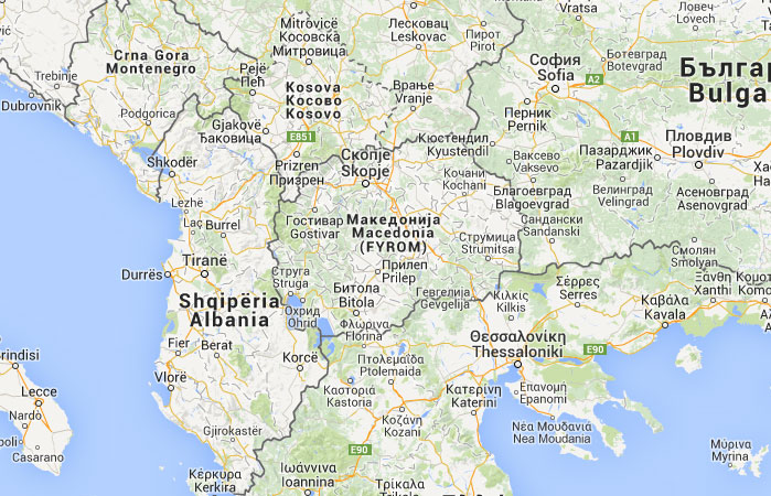 Mapa de República de Macedonia