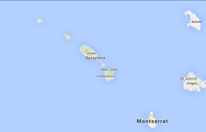 Mapa de San Cristóbal y Nieves