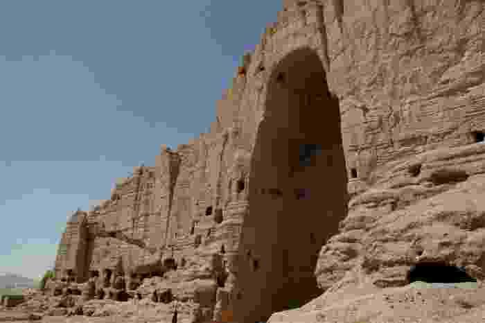 Detalle de uno de los Budas de Bamiyan, destruidos en 2001