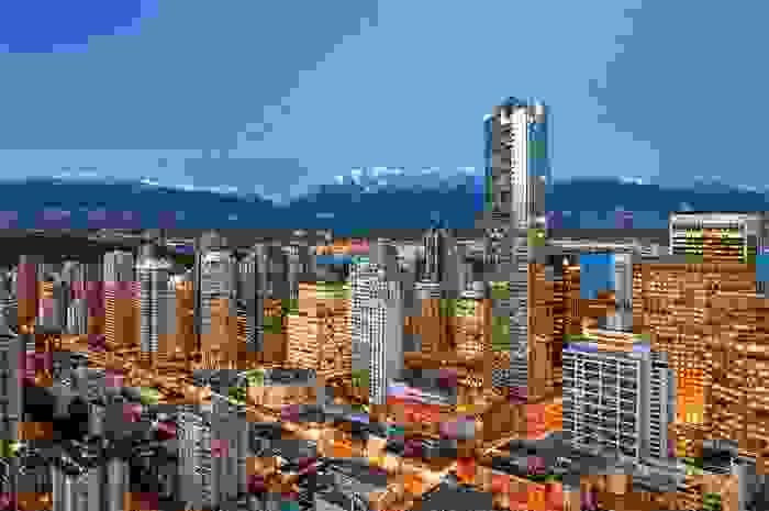 Anochecer en la ciudad de Vancouver