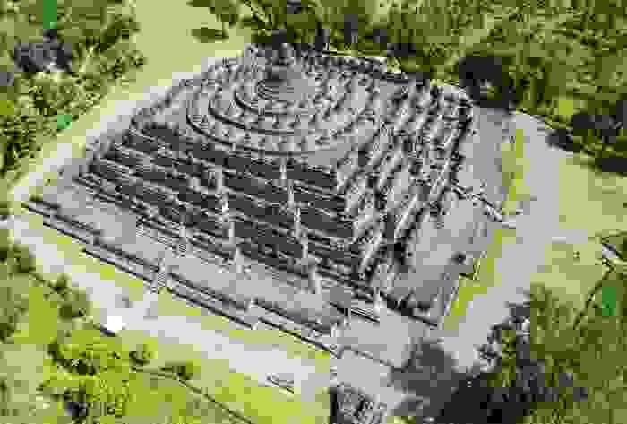Vista aérea del templo budista de Borobudur