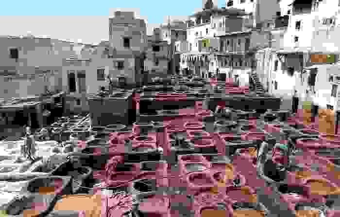 Tinción de cuero en Fez