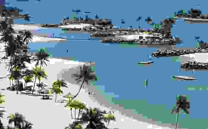 Playa de la pequeña isla de Sentosa