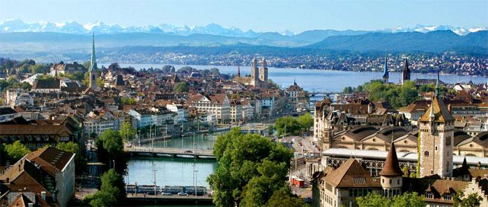 Vista panorámica de la ciudad de Zurich